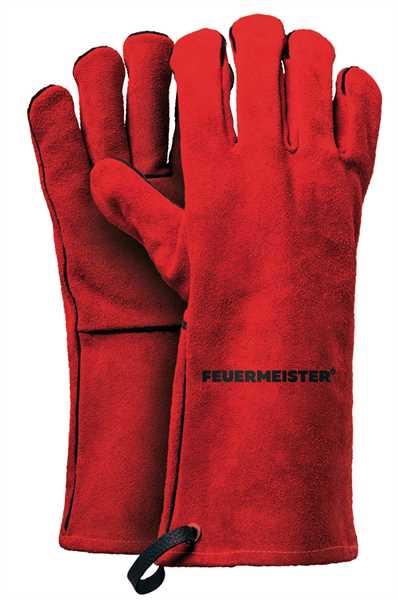 FEUERMEISTER Grillhandschuhe Leder rot Größe L